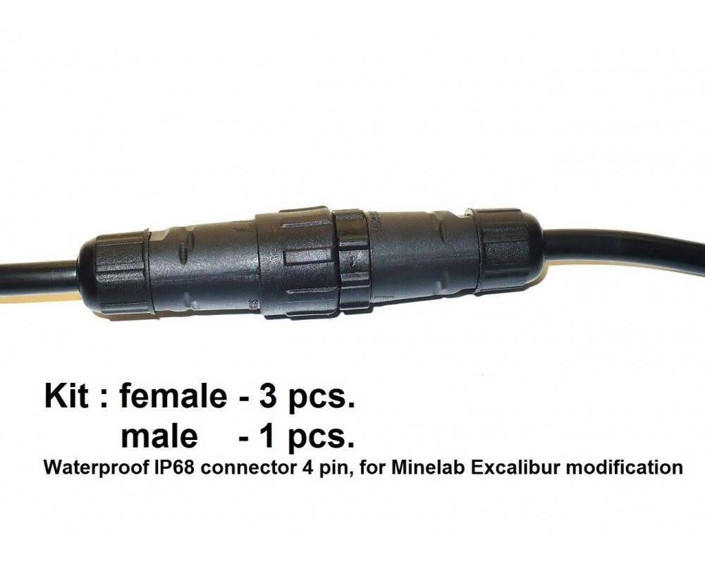 WATERPROOF IP68 CONNECTOR 4 PIN,FOR MINELAB EXCALIBUR KIT